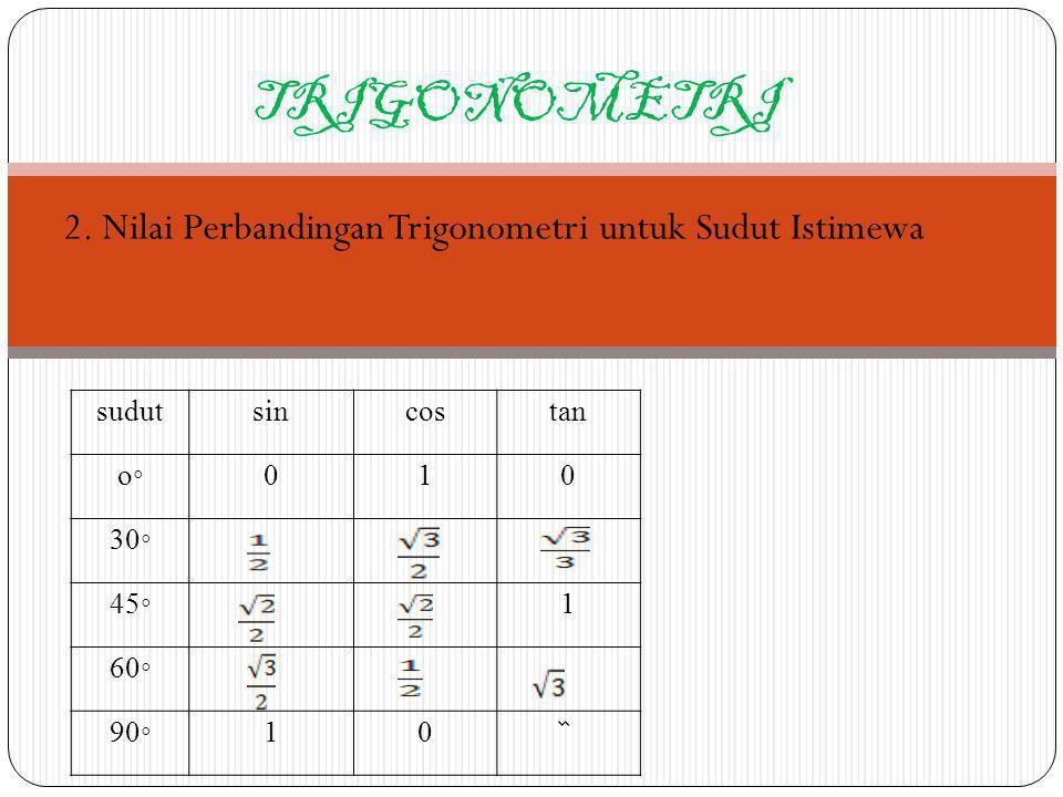 TRIGONOMETRI Contoh: Buktikan sin 2 45 + cos 2 45 = 1 jawab: sin 2 45 + cos 2 45 = 1 (½ ) 2 + (½ ) 2 = 1 ¼ 2 + ¼ 2 = 1 2/4 + 2/4 = 1 4/4=1 Terbukti, sin 2 45 + cos 2 45 = 1