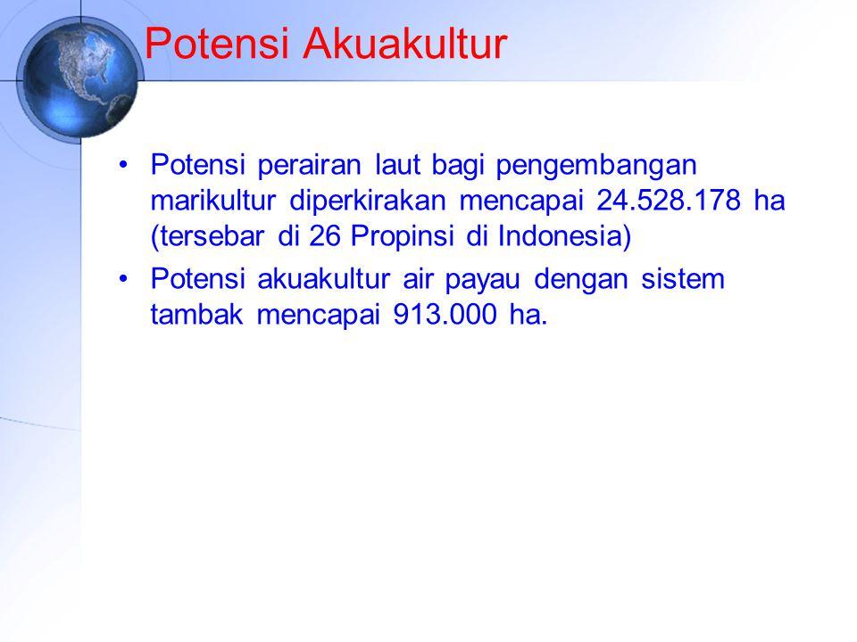 Potensi Akuakultur Potensi perairan laut bagi pengembangan marikultur diperkirakan mencapai 24.528.178 ha (tersebar di 26 Propinsi di Indonesia) Poten