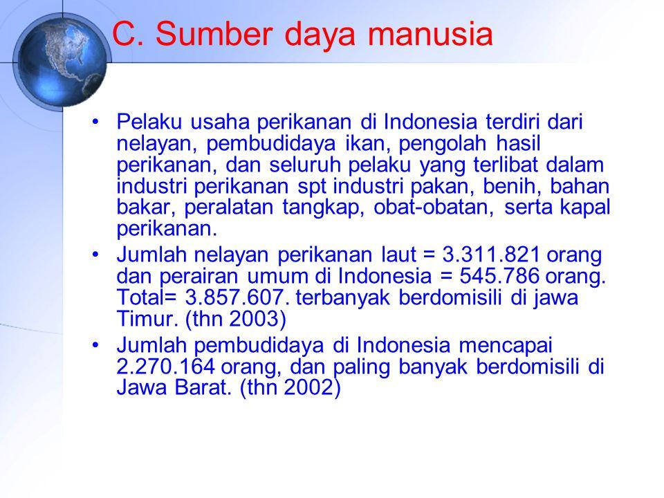 C. Sumber daya manusia Pelaku usaha perikanan di Indonesia terdiri dari nelayan, pembudidaya ikan, pengolah hasil perikanan, dan seluruh pelaku yang t