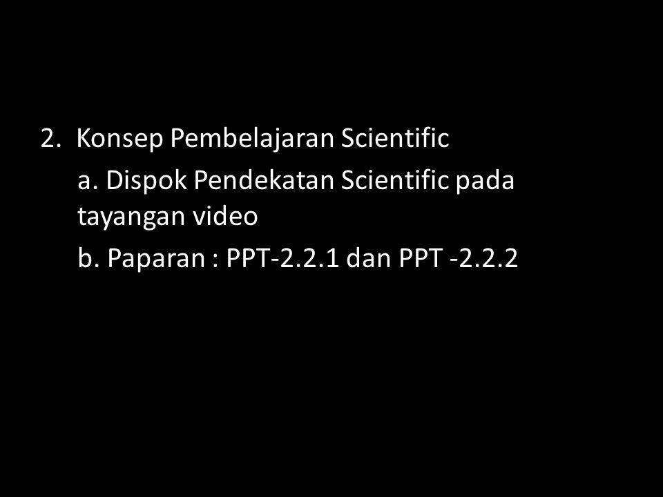 2. Konsep Pembelajaran Scientific a. Dispok Pendekatan Scientific pada tayangan video b. Paparan : PPT-2.2.1 dan PPT -2.2.2