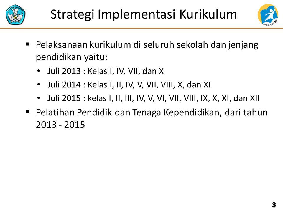 Strategi Implementasi Kurikulum  Pelaksanaan kurikulum di seluruh sekolah dan jenjang pendidikan yaitu: Juli 2013 : Kelas I, IV, VII, dan X Juli 2014