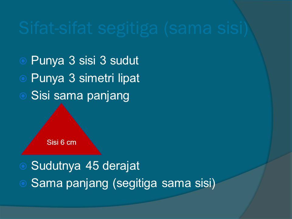 Sifat-sifat lingkaran  Punya 1 sisi 0 sudut  Simetri lipat tak terhitung  Sama sisi  Sudutnya - derajat  Sama panjang