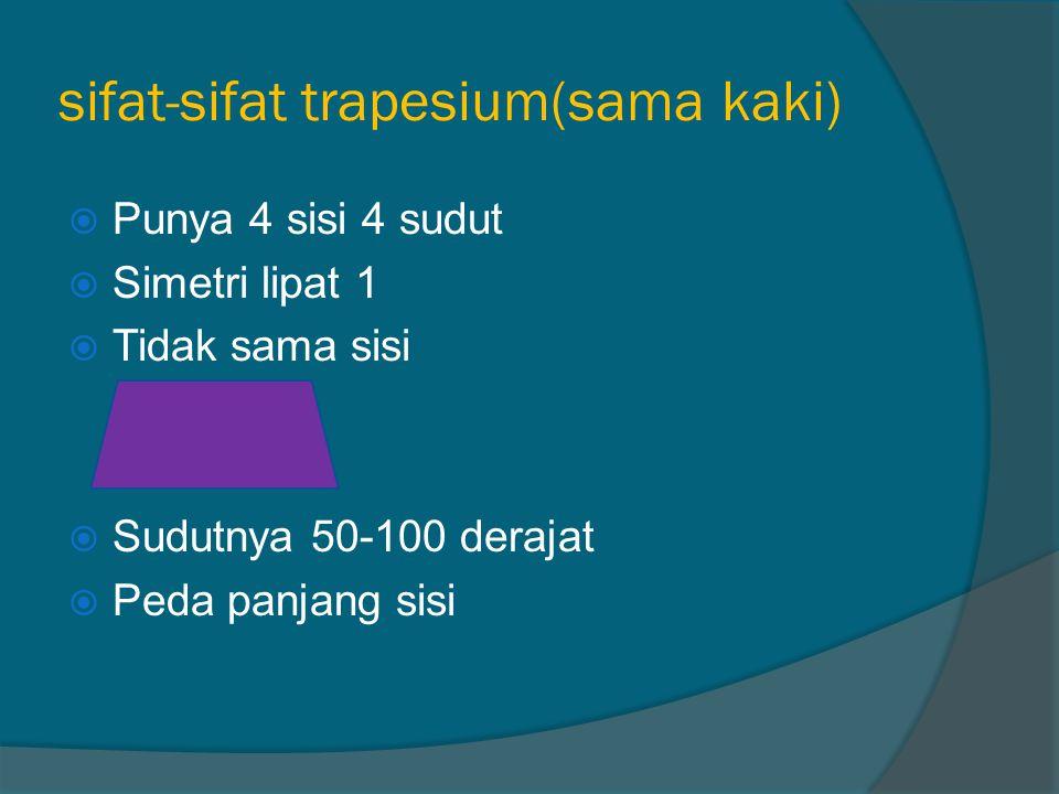 Sifat-sifat jajargenjang  Punya 4 sudut 4 sisi  Simetri lipat 0  Tidak sama sisi  Sudutnya 50-100 derajat  Tidak sama panjang