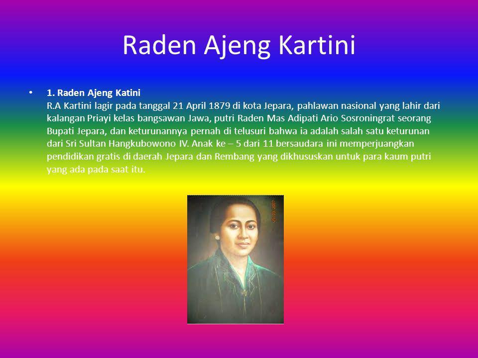 Raden Ajeng Kartini 1. Raden Ajeng Katini R.A Kartini lagir pada tanggal 21 April 1879 di kota Jepara, pahlawan nasional yang lahir dari kalangan Pria