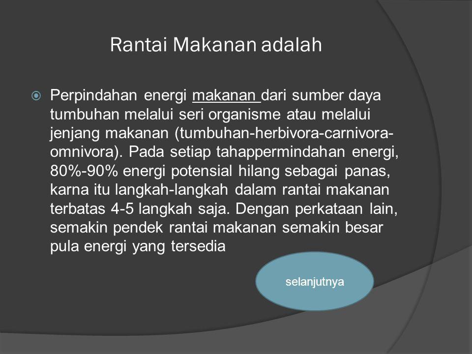 Rantai Makanan adalah  Perpindahan energi makanan dari sumber daya tumbuhan melalui seri organisme atau melalui jenjang makanan (tumbuhan-herbivora-c