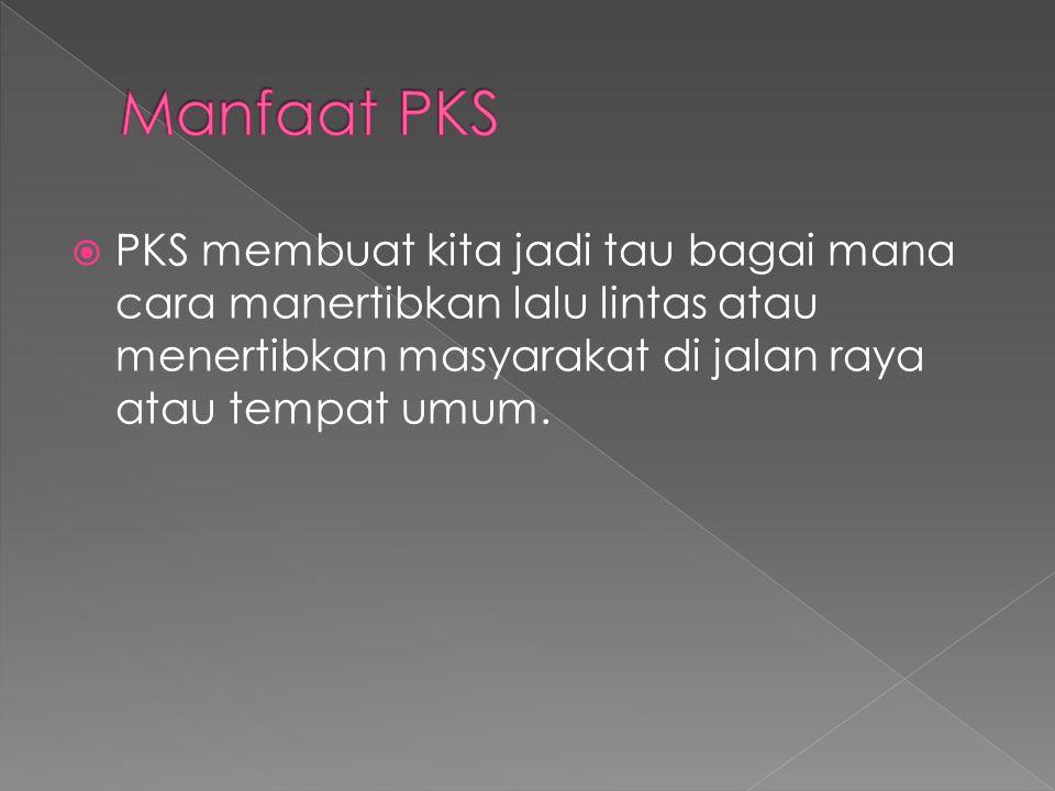  PKS membuat kita jadi tau bagai mana cara manertibkan lalu lintas atau menertibkan masyarakat di jalan raya atau tempat umum.