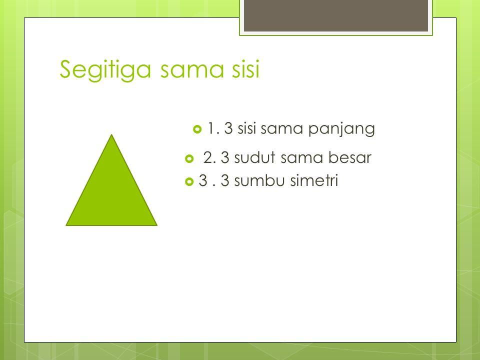 Segitiga sama sisi  2. 3 sudut sama besar  3. 3 sumbu simetri  1. 3 sisi sama panjang