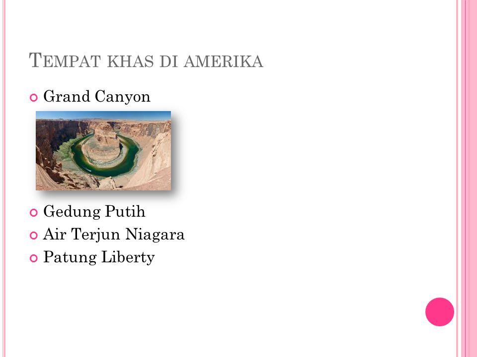 T EMPAT KHAS DI AMERIKA Grand Canyon Gedung Putih Air Terjun Niagara Patung Liberty
