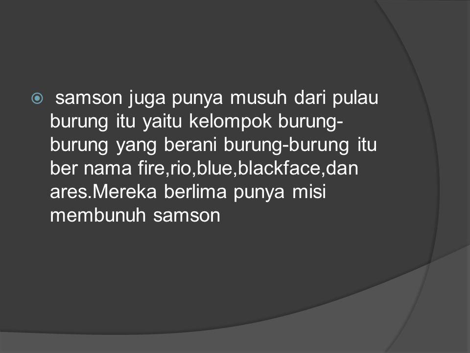  samson juga punya musuh dari pulau burung itu yaitu kelompok burung- burung yang berani burung-burung itu ber nama fire,rio,blue,blackface,dan ares.