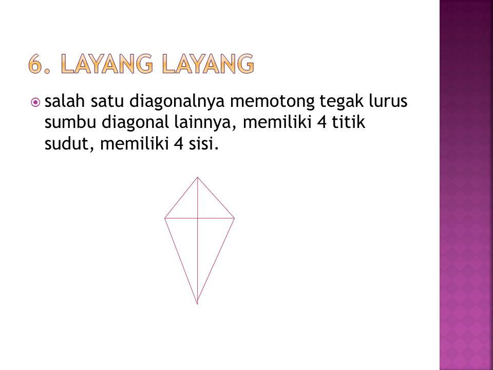  semua sisinya sama panjang dan kedua diagonalnya saling berpotongan tegak lurus, memiliki 4 sisi, memiliki 4 titik sudut.