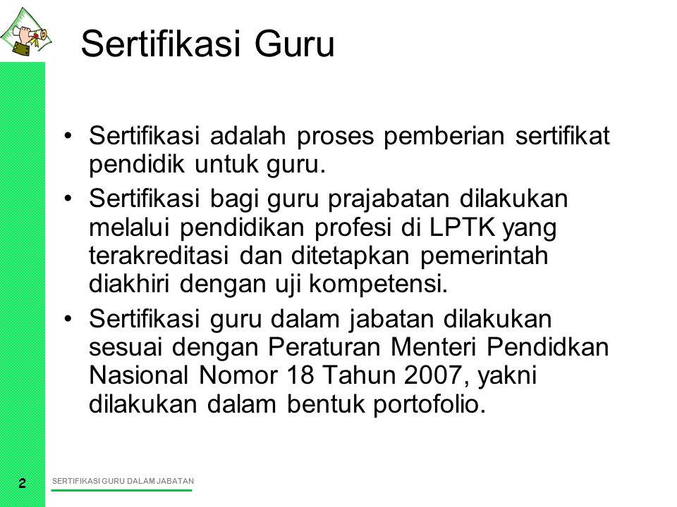 SERTIFIKASI GURU DALAM JABATAN 3 Sertifikasi Guru GURU PRA JABATAN GURU PRA JABATAN GURU DALAM JABATAN GURU DALAM JABATAN UJI KOMPETENSI SERTIFIKAT PROFESI PENDIDIK 1 1 2 2 PENDIDIKAN PROFESI PENDIDIKAN PROFESI Permendiknas No 18 Tahun 2007