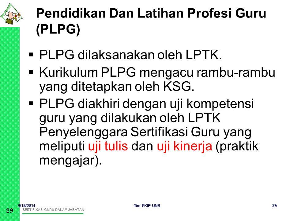 SERTIFIKASI GURU DALAM JABATAN 29 9/15/2014 Tim FKIP UNS 29 Pendidikan Dan Latihan Profesi Guru (PLPG)  PLPG dilaksanakan oleh LPTK.  Kurikulum PLPG