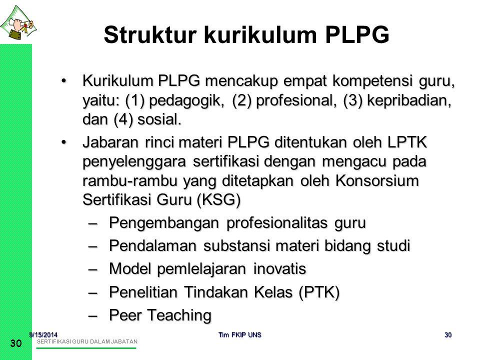 SERTIFIKASI GURU DALAM JABATAN 30 9/15/2014 Tim FKIP UNS 30 Kurikulum PLPG mencakup empat kompetensi guru, yaitu: (1) pedagogik, (2) profesional, (3)