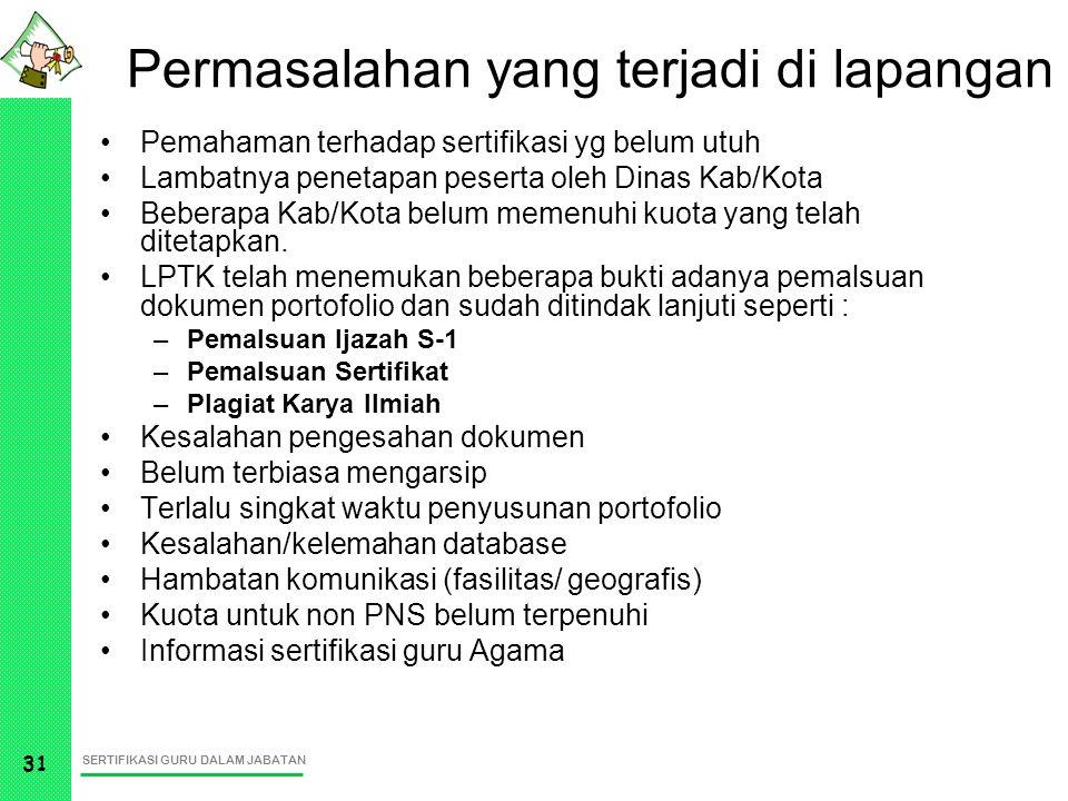 SERTIFIKASI GURU DALAM JABATAN 31 Permasalahan yang terjadi di lapangan Pemahaman terhadap sertifikasi yg belum utuh Lambatnya penetapan peserta oleh