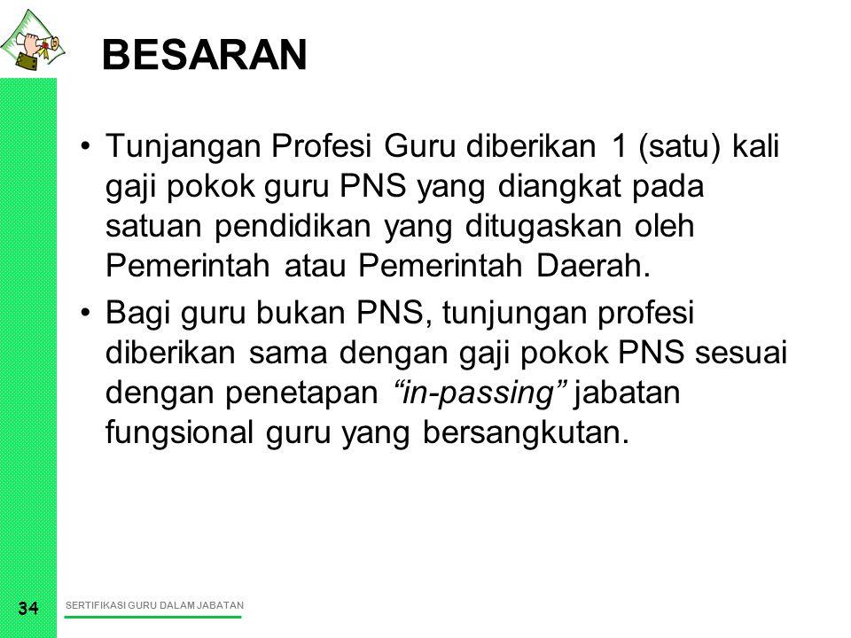 SERTIFIKASI GURU DALAM JABATAN 34 BESARAN Tunjangan Profesi Guru diberikan 1 (satu) kali gaji pokok guru PNS yang diangkat pada satuan pendidikan yang
