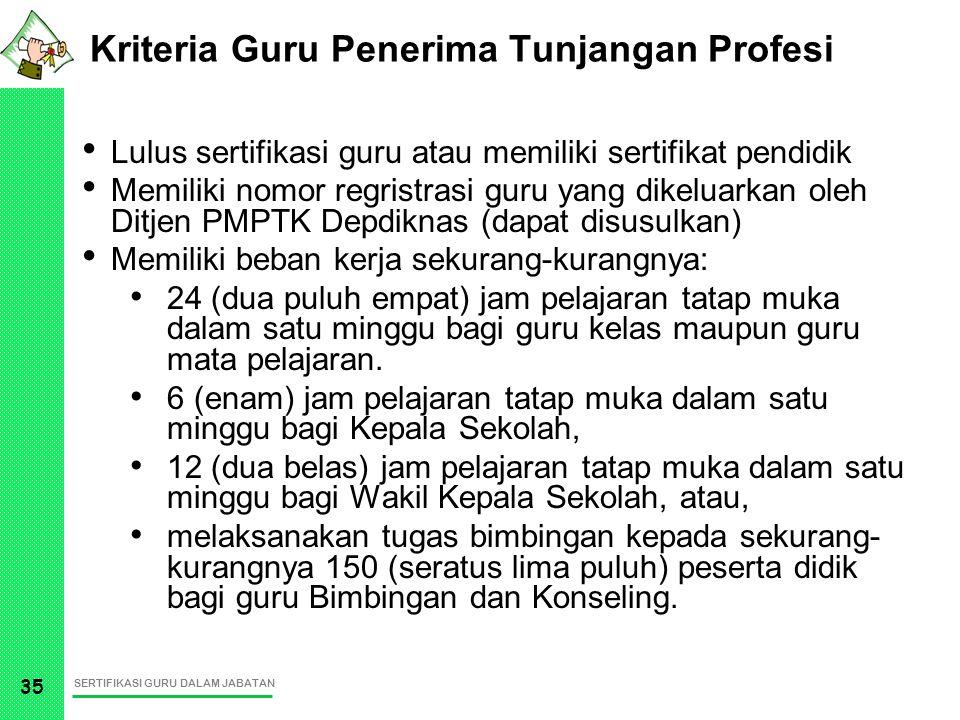 SERTIFIKASI GURU DALAM JABATAN 35 Kriteria Guru Penerima Tunjangan Profesi Lulus sertifikasi guru atau memiliki sertifikat pendidik Memiliki nomor reg