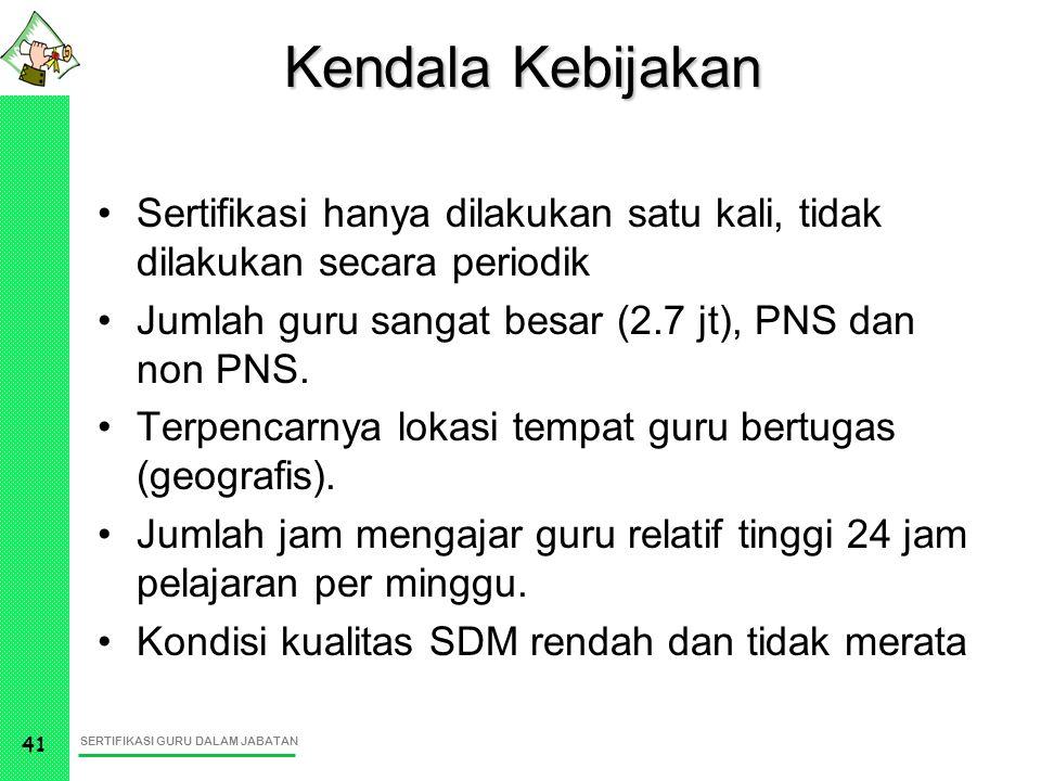 SERTIFIKASI GURU DALAM JABATAN 41 Kendala Kebijakan Sertifikasi hanya dilakukan satu kali, tidak dilakukan secara periodik Jumlah guru sangat besar (2