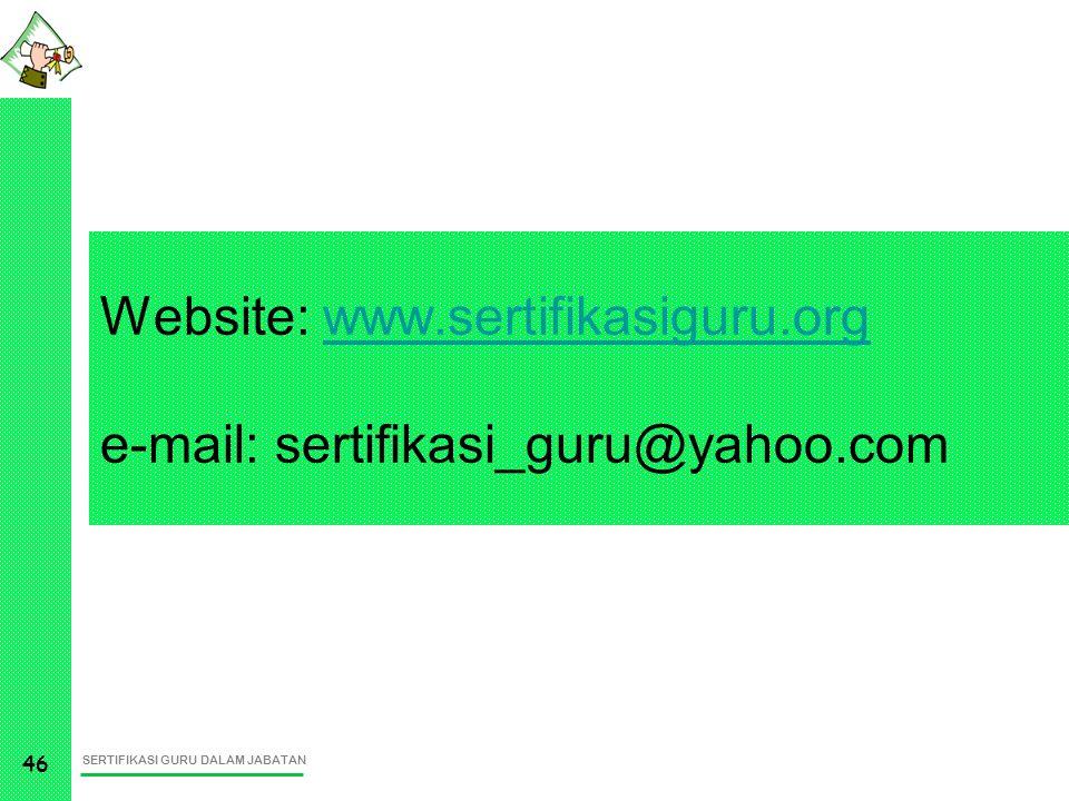 SERTIFIKASI GURU DALAM JABATAN 46 Website: www.sertifikasiguru.org e-mail: sertifikasi_guru@yahoo.comwww.sertifikasiguru.org