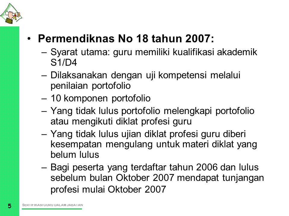 SERTIFIKASI GURU DALAM JABATAN 5 Permendiknas No 18 tahun 2007: –Syarat utama: guru memiliki kualifikasi akademik S1/D4 –Dilaksanakan dengan uji kompe