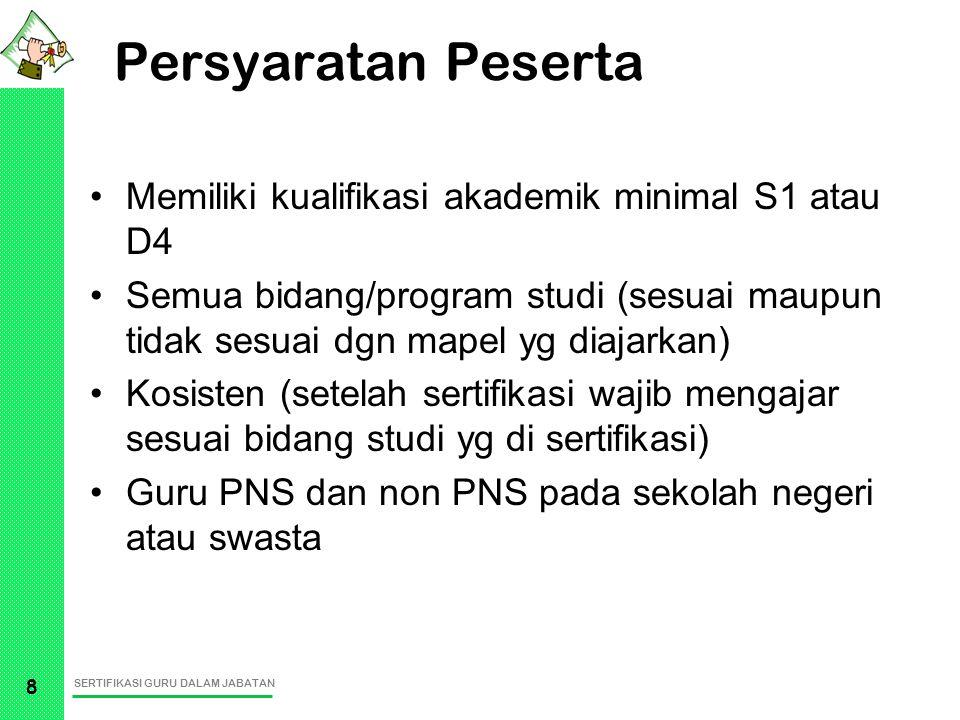 SERTIFIKASI GURU DALAM JABATAN 8 Persyaratan Peserta Memiliki kualifikasi akademik minimal S1 atau D4 Semua bidang/program studi (sesuai maupun tidak