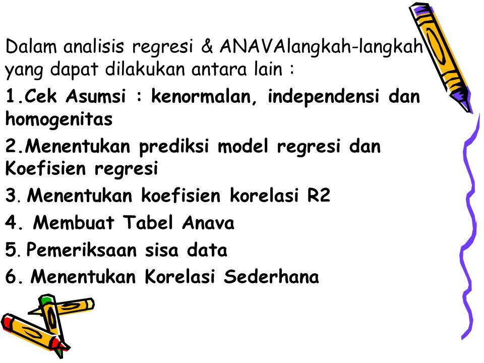 Dalam analisis regresi & ANAVAlangkah-langkah yang dapat dilakukan antara lain : 1.Cek Asumsi : kenormalan, independensi dan homogenitas 2.Menentukan