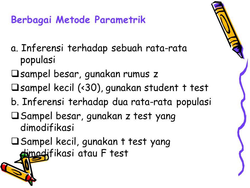Berbagai Metode Parametrik a. Inferensi terhadap sebuah rata-rata populasi  sampel besar, gunakan rumus z  sampel kecil (<30), gunakan student t tes
