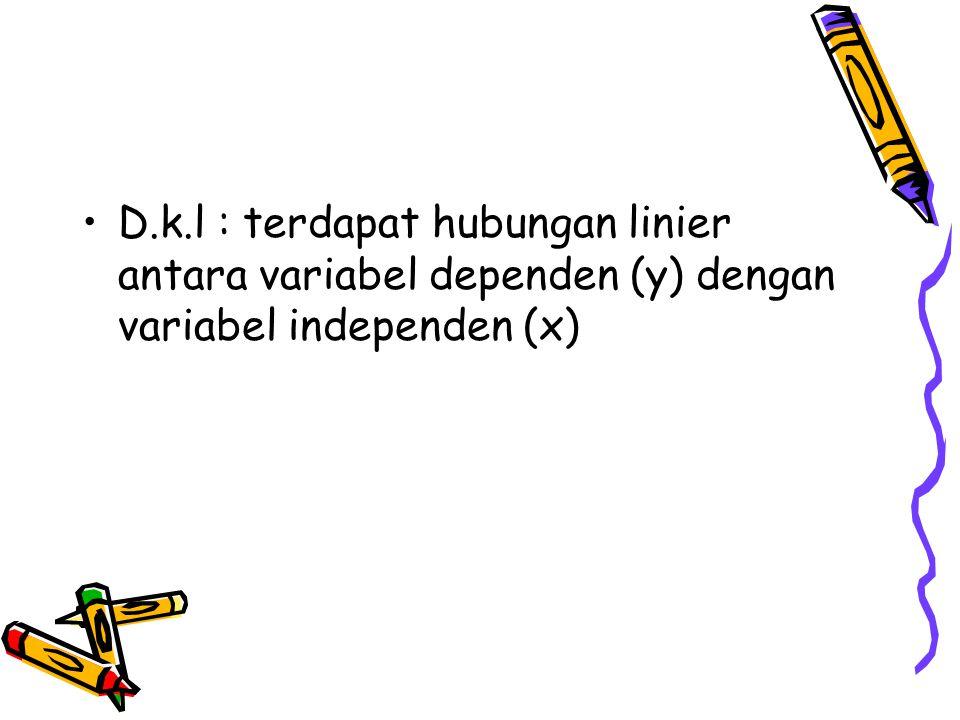 D.k.l : terdapat hubungan linier antara variabel dependen (y) dengan variabel independen (x)
