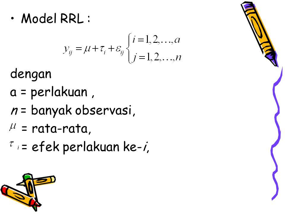 Model RRL : dengan a = perlakuan, n = banyak observasi, = rata-rata, = efek perlakuan ke-i,