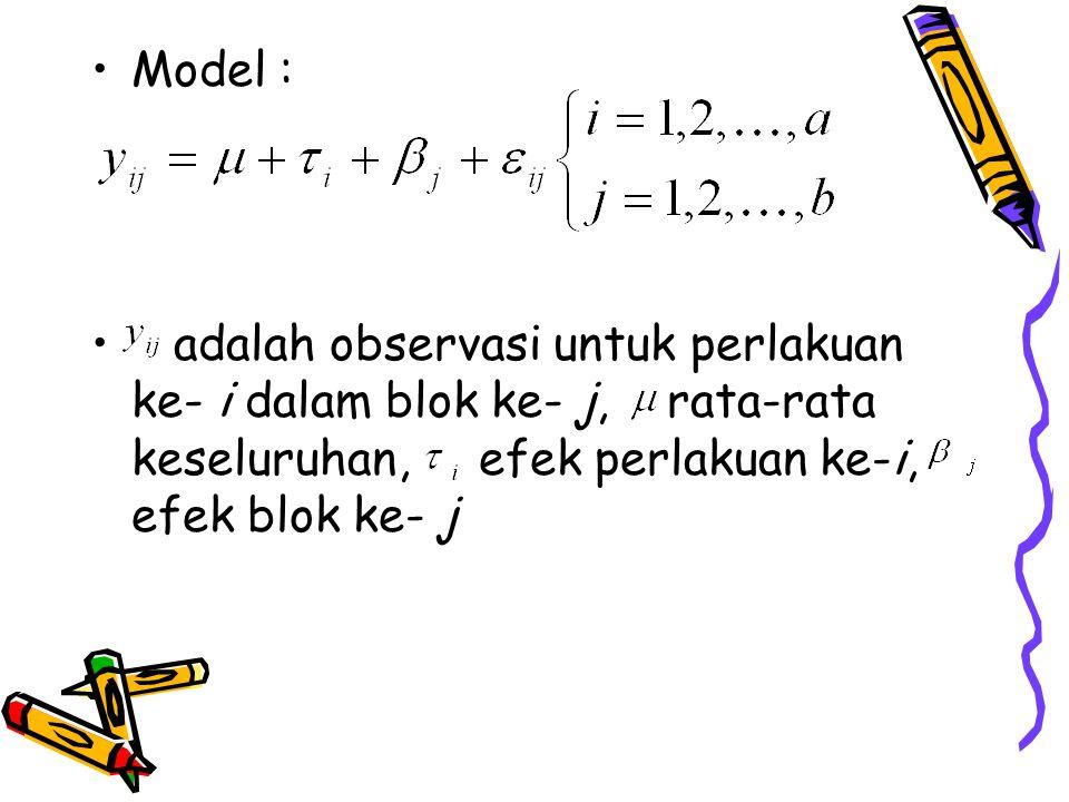 Model : adalah observasi untuk perlakuan ke- i dalam blok ke- j, rata-rata keseluruhan, efek perlakuan ke-i, efek blok ke- j