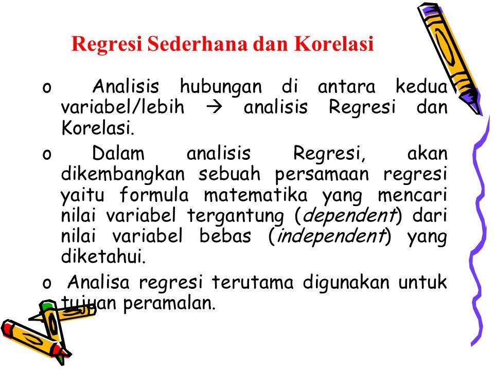 Regresi Sederhana dan Korelasi oAnalisis hubungan di antara kedua variabel/lebih  analisis Regresi dan Korelasi. oDalam analisis Regresi, akan dikemb