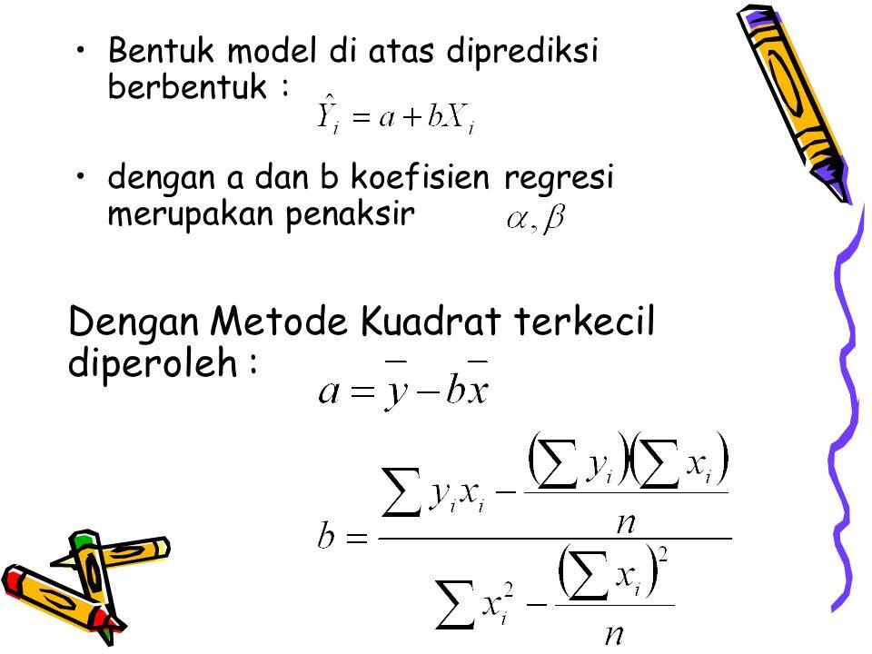 Bentuk model di atas diprediksi berbentuk : dengan a dan b koefisien regresi merupakan penaksir Dengan Metode Kuadrat terkecil diperoleh :
