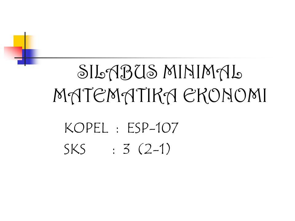 SILABUS MINIMAL MATEMATIKA EKONOMI KOPEL : ESP-107 SKS : 3 (2-1)