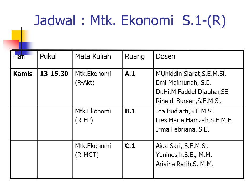 DAFTAR PUSTAKA  Alpha C. Chiang, Dasar-dasar Matematika Ekonomi, Buku I, Erlangga, Jakarta.  Josep B. Kalangi, Matematika Ekonomi dan Bisnis, Buku I