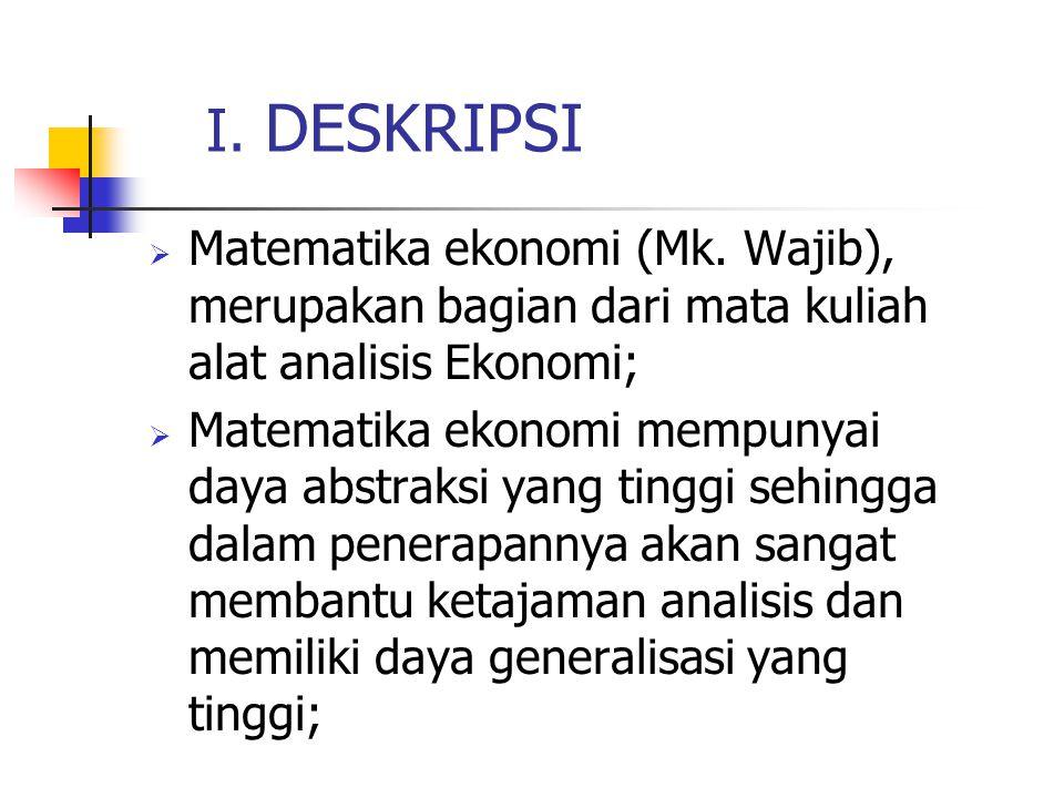 I.DESKRIPSI  Matematika ekonomi (Mk.