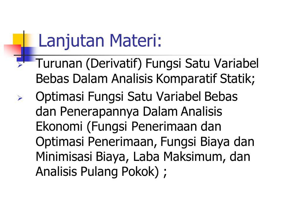 Lanjutan Materi:  Fungsi dengan Satu Variabel Bebas;  Penerapan Fungsi Satu Variabel Bebas Dalam Analisis Keseimbangan Statik: (Fungsi Permintaan, F