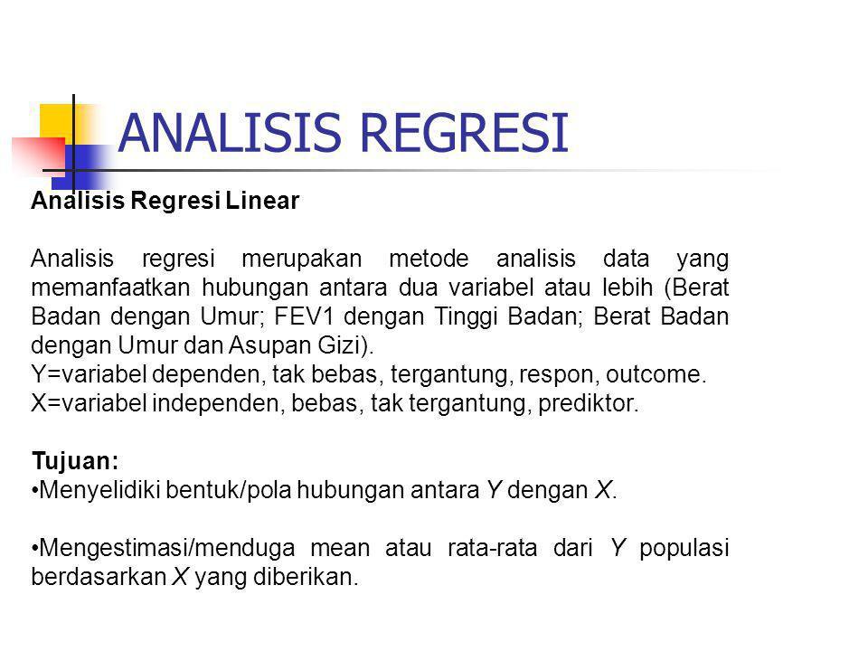 ANALISIS REGRESI Analisis Regresi Linear Analisis regresi merupakan metode analisis data yang memanfaatkan hubungan antara dua variabel atau lebih (Be