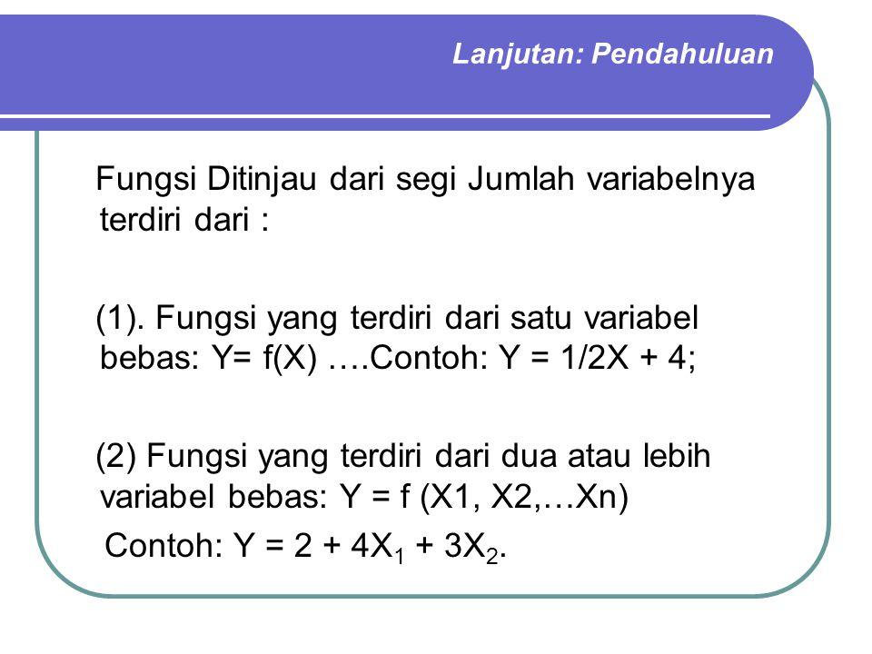 Lanjutan: Pendahuluan Fungsi Ditinjau dari segi Jumlah variabelnya terdiri dari : (1). Fungsi yang terdiri dari satu variabel bebas: Y= f(X) ….Contoh:
