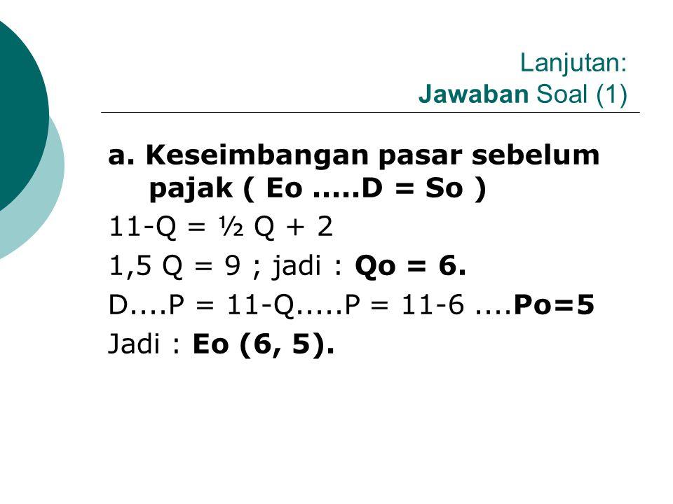 CONTOH SOAL (1.1.a): Fungsi Permintaan dan Penawaran Linier Diketahui Fungsi So : P = ½ Q + 2, pajak perunit ( t = 3); dan fungsi permintaan D : P = 1