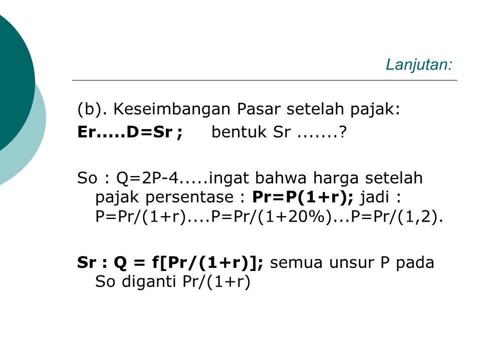 2.2. PAJAK PERSENTASE UNTUK So: Q = f(P). Diketahui : D : Q=-P+11 dan So : Q=2P-4. Apabila pemerintah menarik Pajak Persentase r=20%; tentukan : (a).K