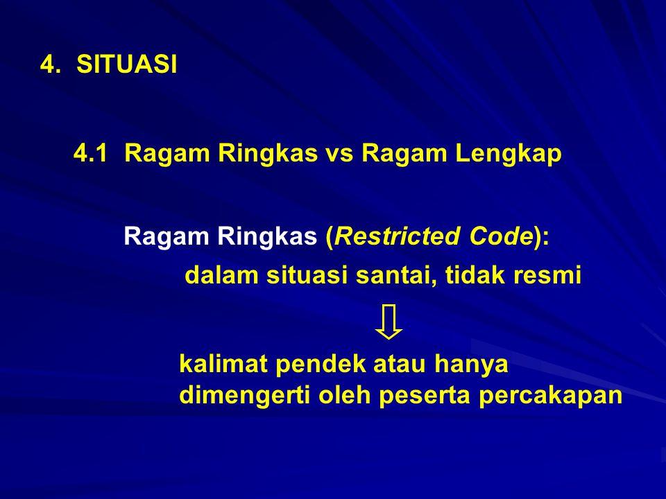 4. SITUASI 4.1 Ragam Ringkas vs Ragam Lengkap Ragam Ringkas (Restricted Code): dalam situasi santai, tidak resmi kalimat pendek atau hanya dimengerti
