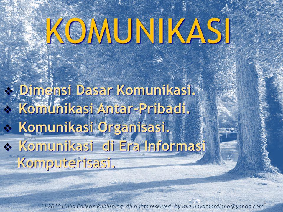 Dimensi Dasar Komunikasi 2 © 2010 Unila College Publishing.