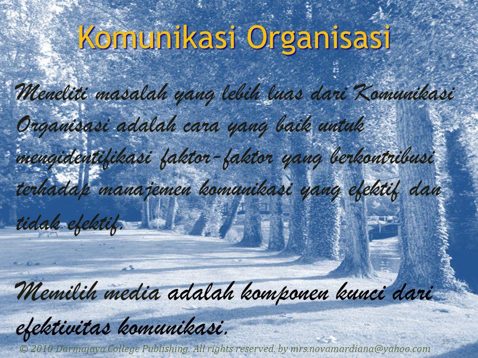 Komunikasi Organisasi 15 © 2010 Darmajaya College Publishing. All rights reserved. by mrs.novamardiana@yahoo.com Meneliti masalah yang lebih luas dari