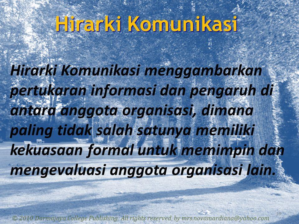 Hirarki Komunikasi 19 © 2010 Darmajaya College Publishing. All rights reserved. by mrs.novamardiana@yahoo.com Hirarki Komunikasi menggambarkan pertuka