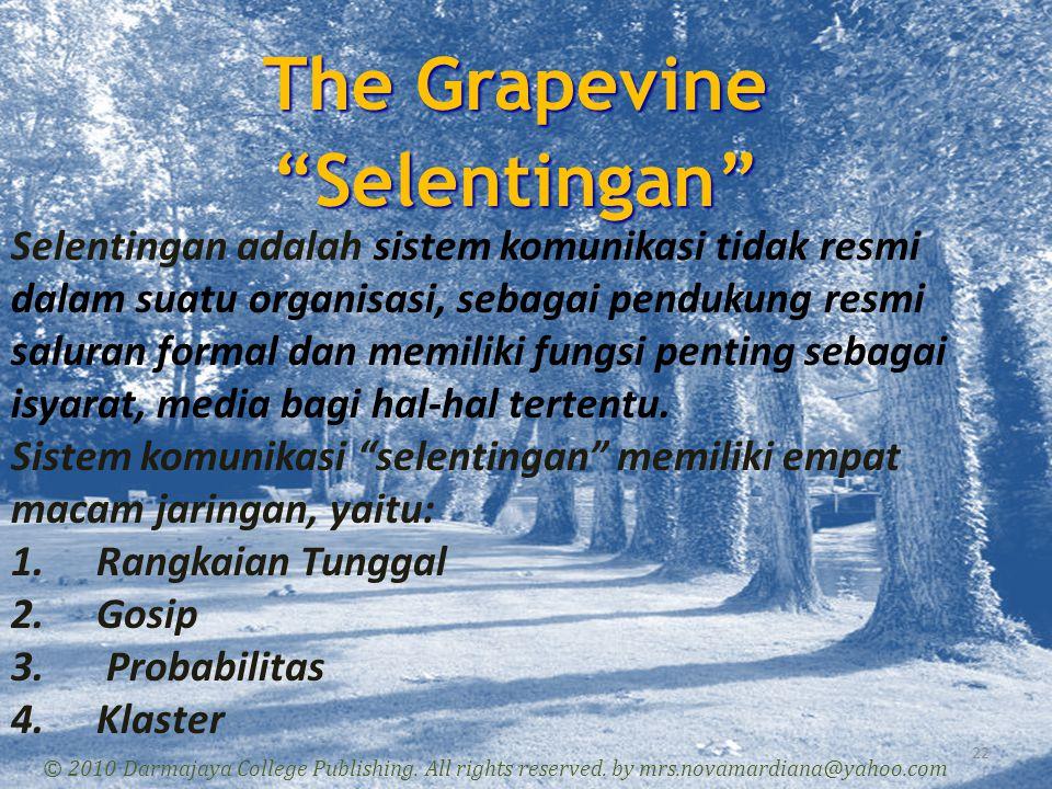 "The Grapevine ""Selentingan"" 22 © 2010 Darmajaya College Publishing. All rights reserved. by mrs.novamardiana@yahoo.com Selentingan adalah sistem komun"