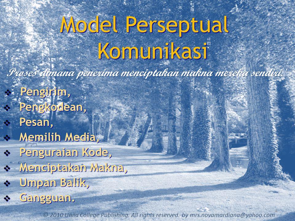 Model Perseptual Komunikasi Proses dimana penerima menciptakan makna mereka sendiri. 4 © 2010 Unila College Publishing. All rights reserved. by mrs.no