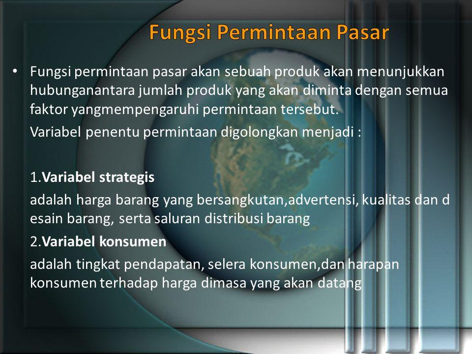 Fungsi permintaan pasar akan sebuah produk akan menunjukkan hubunganantara jumlah produk yang akan diminta dengan semua faktor yangmempengaruhi permintaan tersebut.