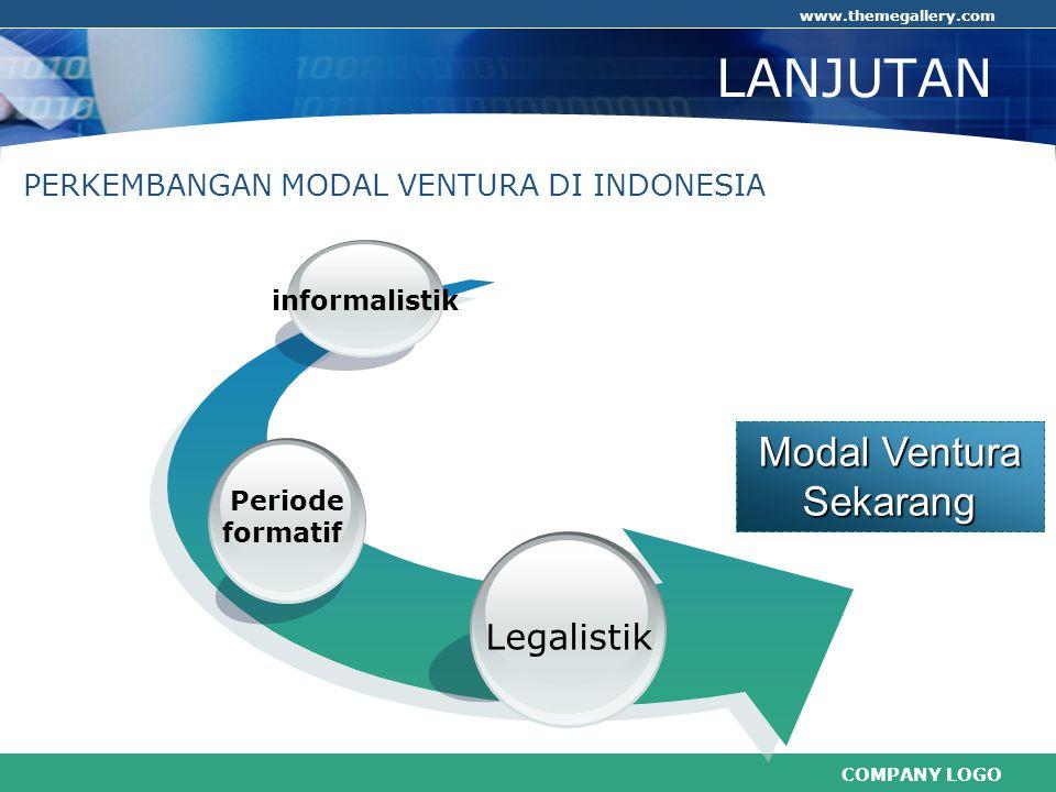 COMPANY LOGO www.themegallery.com LANJUTAN Modal Ventura Sekarang Legalistik Periode formatif PERKEMBANGAN MODAL VENTURA DI INDONESIA informalistik