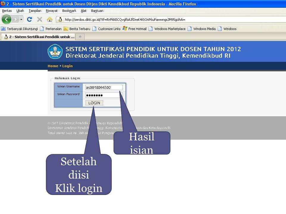 Setelah diisi Klik login Hasil isian