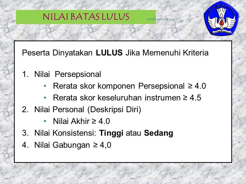4 NILAI BATAS LULUS Peserta Dinyatakan LULUS Jika Memenuhi Kriteria 1.Nilai Persepsional Rerata skor komponen Persepsional ≥ 4.0 Rerata skor keseluruh