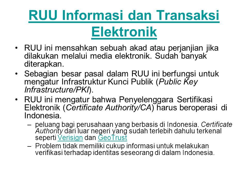RUU Informasi dan Transaksi Elektronik RUU ini mensahkan sebuah akad atau perjanjian jika dilakukan melalui media elektronik.